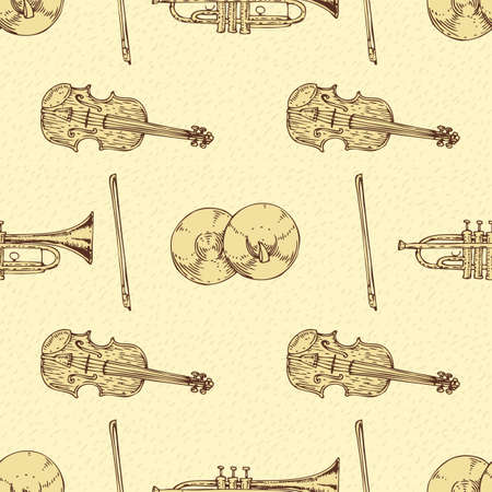 fiddlestick: Seamless Vector Pattern with Wooden Fiddle or Violin, Cymbals and Trombone. Brown Contours on a Beige Background Illustration