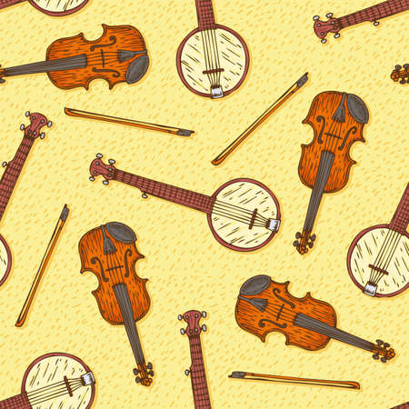 fiddlestick: Seamless Vector Pattern. Wooden Fiddle or Violin with Fiddlestick and Banjo on a Yellow Background Illustration