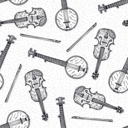 Black and White Seamless Vector Pattern. Wooden Fiddle or Violin with Fiddlestick and Banjo