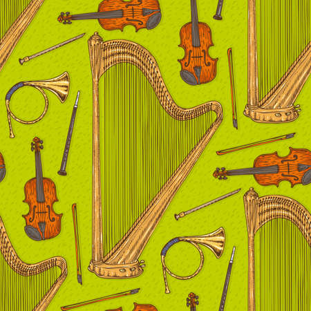 sonata: Seamless Vector Pattern With Musical Instruments on a Green Background