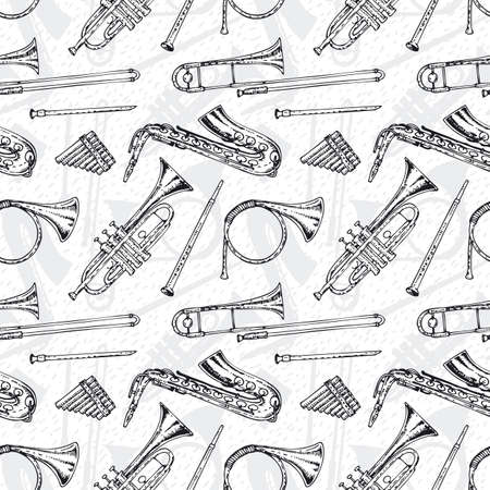 panpipes: Black and White Seamless Pattern With Wind Musical Instruments