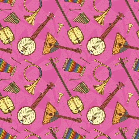 minstrel: Seamless Vector with Folk Musical Instruments on a Pink Background Illustration