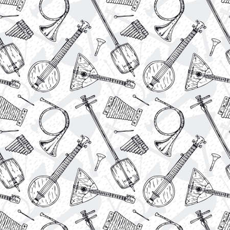 Black and White Seamless Vector with Folk Musical Instruments Illustration