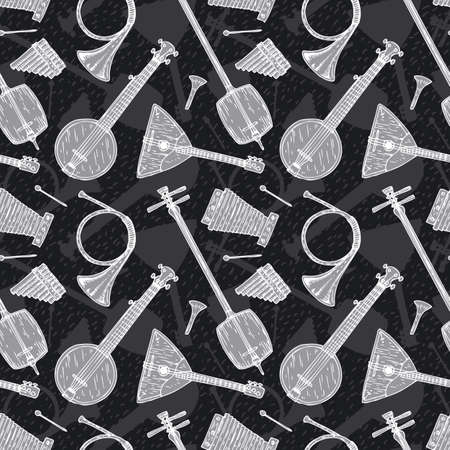panpipes: Black and White Seamless Vector with Folk Musical Instruments Illustration