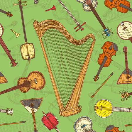 minstrel: Seamless Pattern with String Musical Instruments on a Green Background