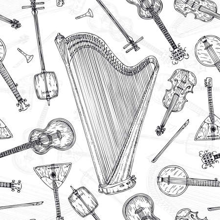 minstrel: Black and White Seamless Pattern with String Musical Instruments. Black Contours on a White Background