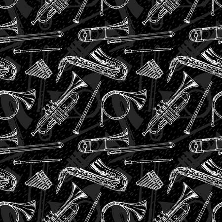 panpipes: Black and White Seamless Pattern With Wind Musical Instruments. White Contours on a Black Background