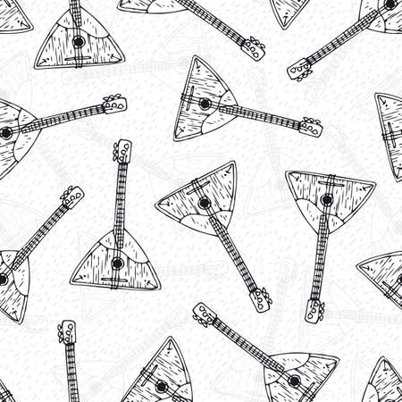 balalaika: Musical Instrument. Black and White Seamless Pattern with Wooden Balalaika. Black Contours on a White Background