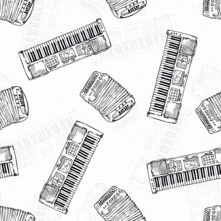 chromatic: Black and White Seamless Vector Pattern woth Keyboard Musical Instrument. Black Contours on a White Background