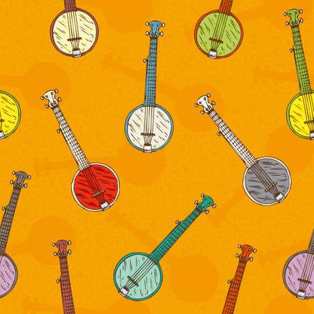 minstrel: Seamless Pattern. Colorful Banjos on a Orange Background Illustration