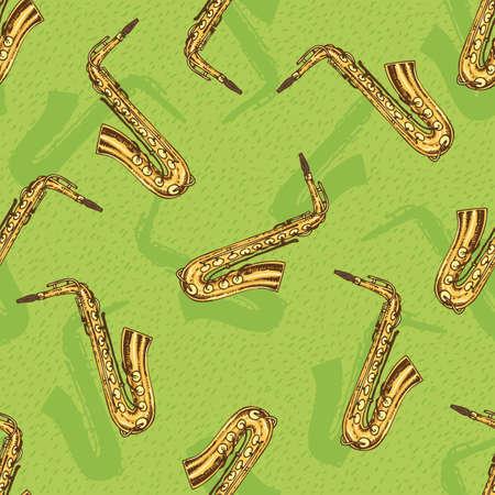Seamless Pattern With Saxophone on a Green Background 版權商用圖片 - 67653622