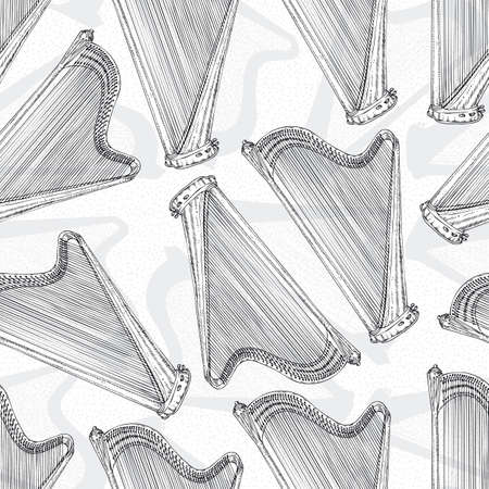 Black and White Seamless Pattern With Harps. Black Contours on a White Background