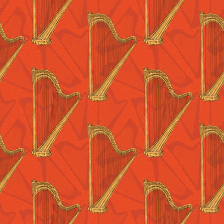 Seamless Pattern With Harps on a Red Background