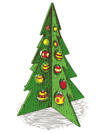 Drawn Wooden Green Christmas Treewith Red and Yellow Baubles. Isolated on a White