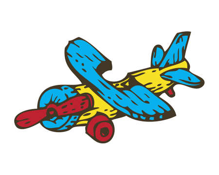 airscrew: Wooden Toys Aircraft. Isolated on White Background Illustration