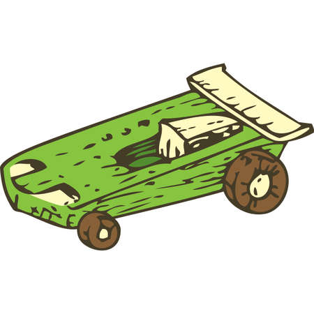 racecar: Wooden Toys Racing Car. Isolated on a White Background Illustration