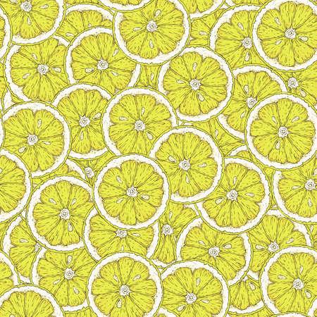 Seamless Pattern with Ripe Yellow Lemon Slices
