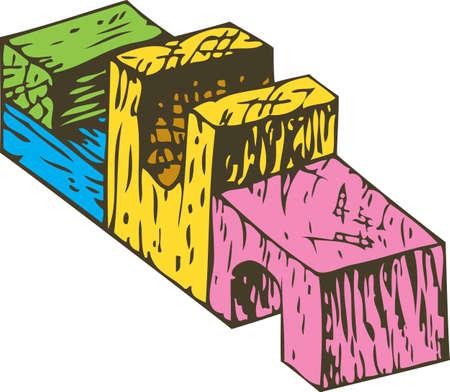 Color Wooden Blocks Composition