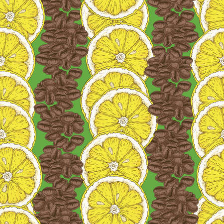 Seamless Pattern with Lemon and Coffee Beans Stock Photo