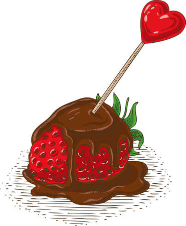 Ripe Red Chocolate Covered Strawberry with Red Heart and Flower on White Background