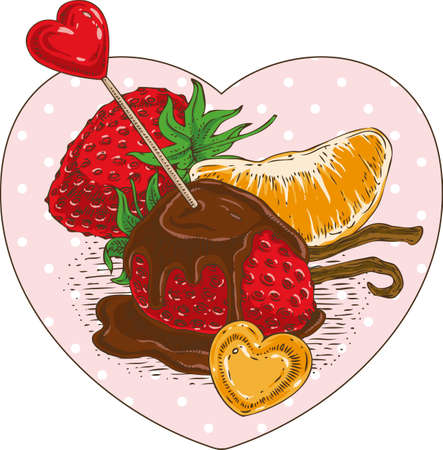 chocolate covered strawberries: Chocolate Covered Strawberries and Orange Tangerine Slice with Red and Orange Hearts in the Heart Shape Frame Illustration