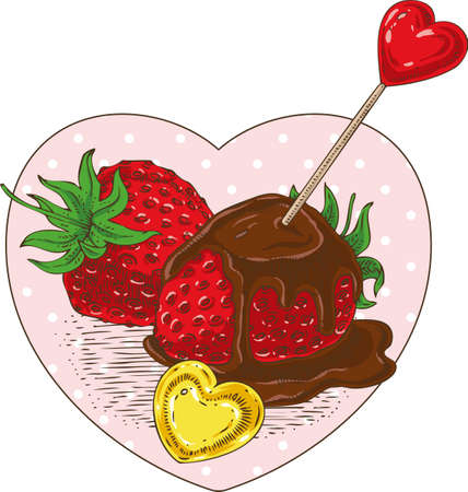 Chocolate Covered Strawberries with Red and Golden Hearts in the Heart Shape Frame