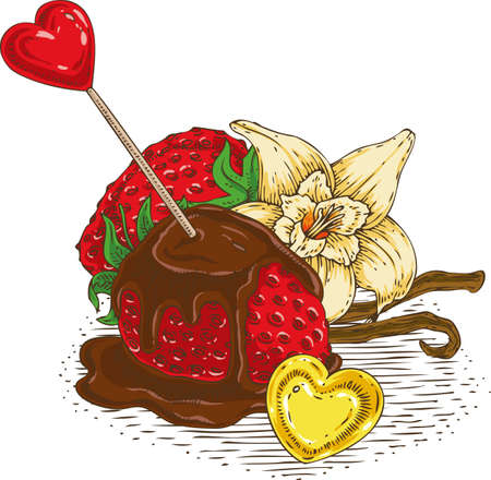 chocolate covered strawberries: Ripe Red Chocolate Covered Strawberries with Red and Gold Hearts and Vanilla Flower with Two Sticks on a White Background