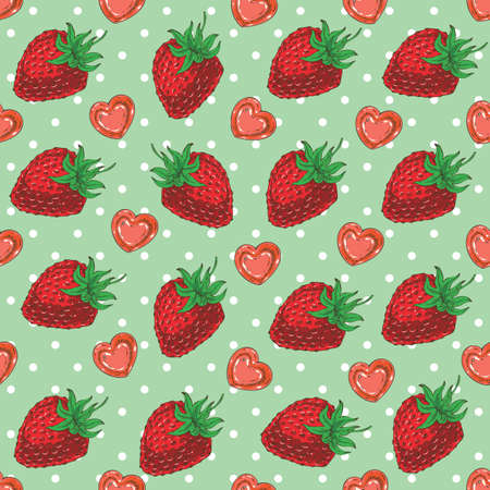 Seamless vector Pattern with Ripe Red Strawberries and Hearts on a Green Background with White Dots