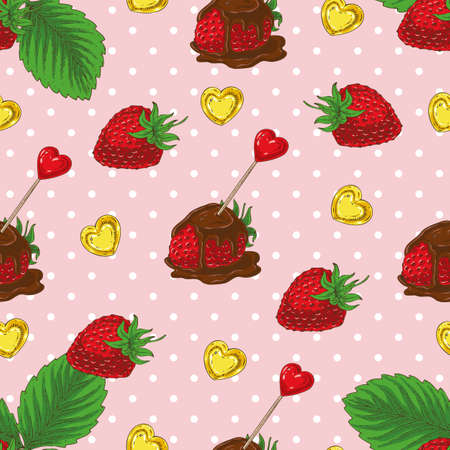 Seamless vector Pattern with Ripe Red Chocolate Covered Strawberries and Hearts on a Pink Background with White Dots