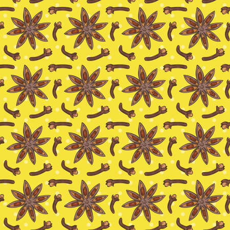 Seamless Vector Pattern with Clove and Star Anise on a Yellow Background. Hand Drawn Illustration Ilustracja