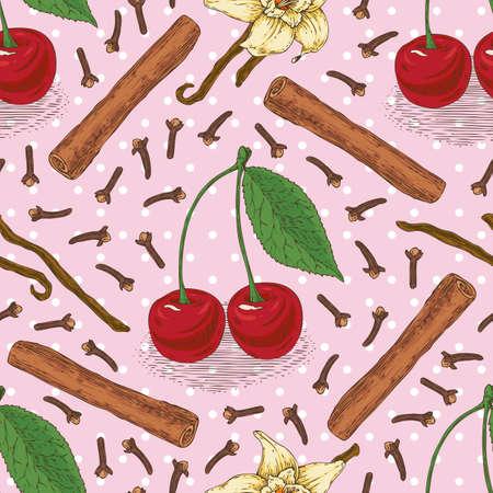 vainilla flor: Patrón de vector transparente con rojo maduro de la cereza, clavo, canela en rama y la flor de la vainilla en un fondo de color rosa con puntos blancos