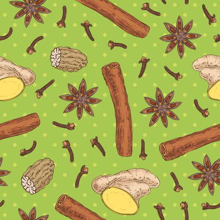 Seamless Vector Pattern with Clove, Nutmeg, Cinnamon, Ginger and Star Anise on a Green Background. Hand Drawn Illustration