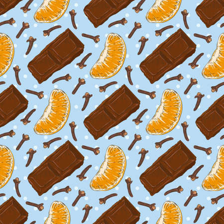clove: Seamless vector Pattern with Chocolate, Clove and Tangerine Slice on a Blue Background Illustration