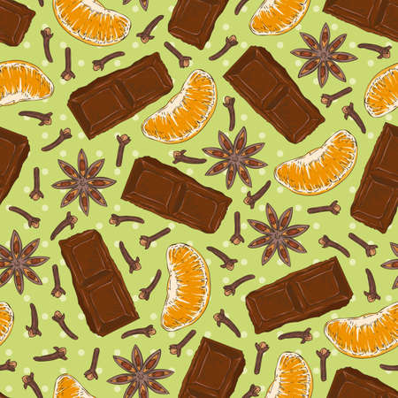 clove: Seamless vector Pattern with Chocolate, Clove, Star Anise and Tangerine Slice on a Green Background