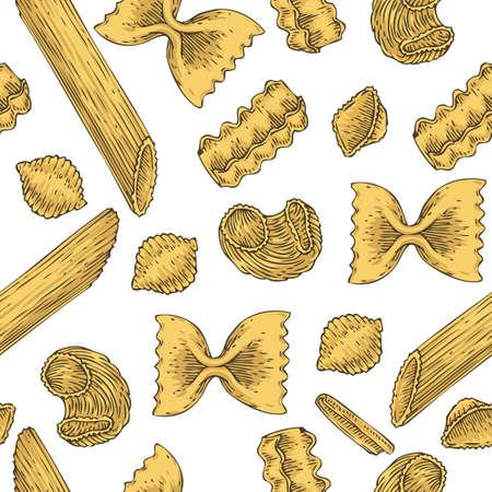 staple: Italian Pasta. Seamless Vector Pattern