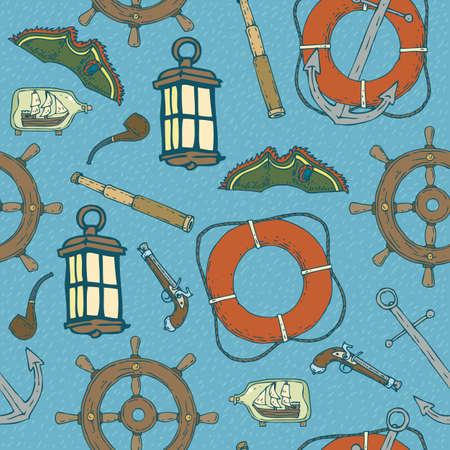 Blue Pirat Seamless Pattern Illustration