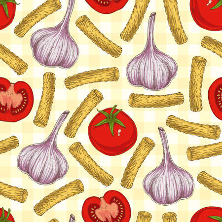 cloves: Seamless Vector Pattern with Tortiglioni, Tomatoes and Garlic on a Yellow Plaid Background. Hand Drawn Illustration