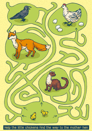 chikens: Easter Maze Game. Help the little chikens find the way to the mother hen