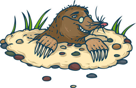 Smiling Mole with Glasses Looking from Molehill