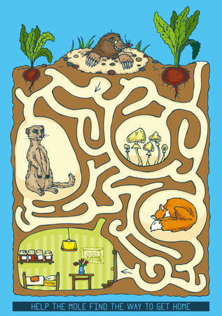 Mole Maze Game. Help the mole find the way to get home 版權商用圖片 - 74556232
