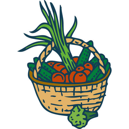 bast basket: Wicker Basket with Ripe Vegetables. Isolated on a White Background