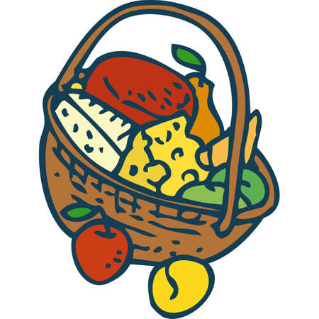 Wicker Basket with Goods Illustration