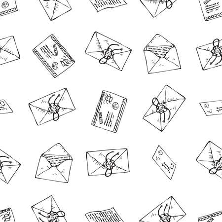 Postal Service. Seamless Vector Pattern with Envelopes and Letters. Black and White Line Art Illustration Illustration