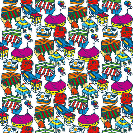 market place: Traditional Fair Seamless Pattern on a White Background