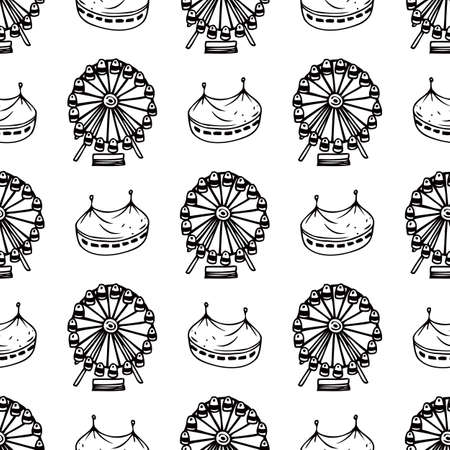 amusement park black and white: Simple Seamless Pattern with Circus and Ferris Wheel on a White Background. Black and White Line Art. Coloring Book