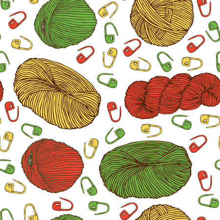 Seamless Pattern with Red, Green and Yellow Locking Stitch Markers. Knitting Supplies and Accessories. Hand Drawn Illustration Illustration