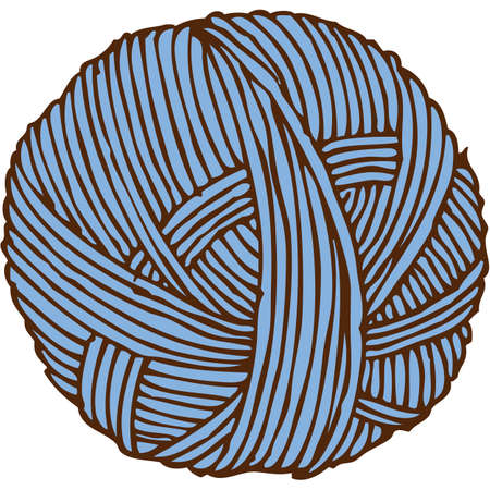 Blue Hank of Yarn. Isolated on White Background