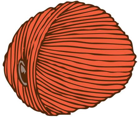 hank: Orange Hank of Yarn isolated on white background.