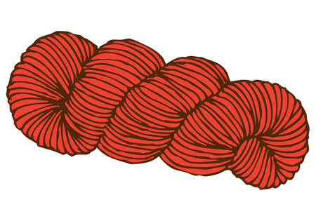Red Hank of Yarn isolated on white background. Illustration