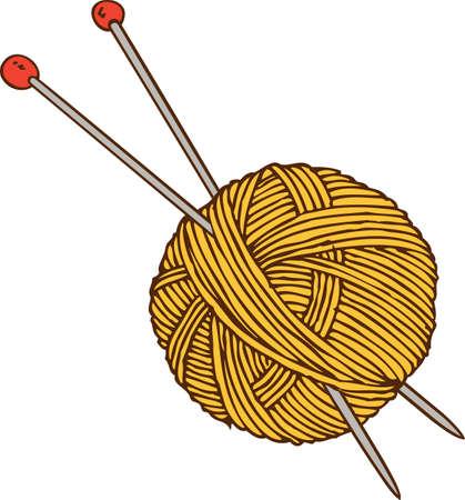 Yellow Yarn Ball and Needles. Illustration